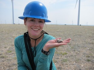 Researcher Anika Mahoney studied how grassland birds fare as wind energy development appears in their nesting areas. Photo courtesy Anika Mahoney.