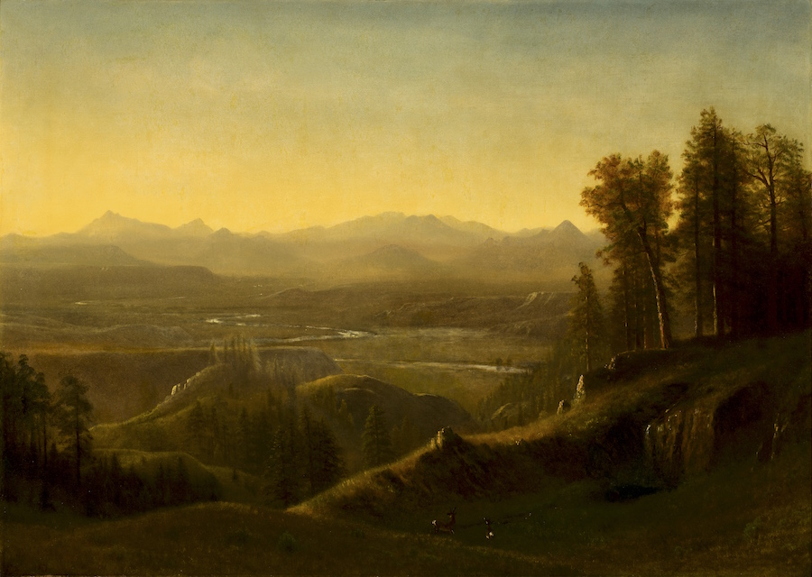 The oil painting Wind River Country Wyoming by Albert Bierdstadt (circa 1860) was up for sale at the 2015 Jackson Hole Art Auction.