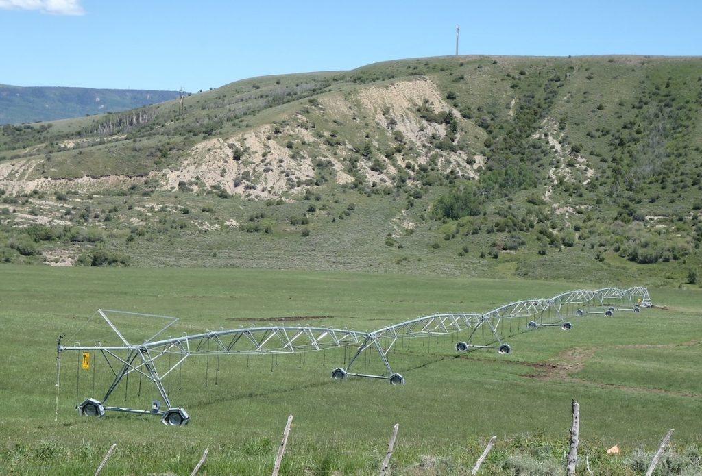 Hydro-powered center-pivot on a ranch in Colorado.
