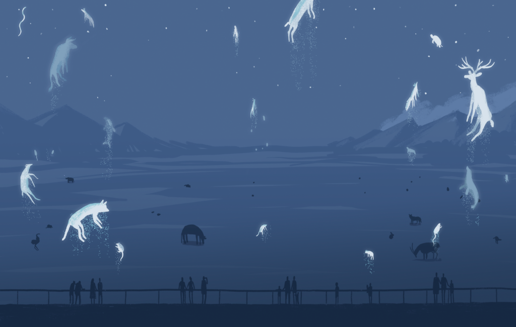 Illustration of figures standing at railing while ghosts of animals rise into the night sky