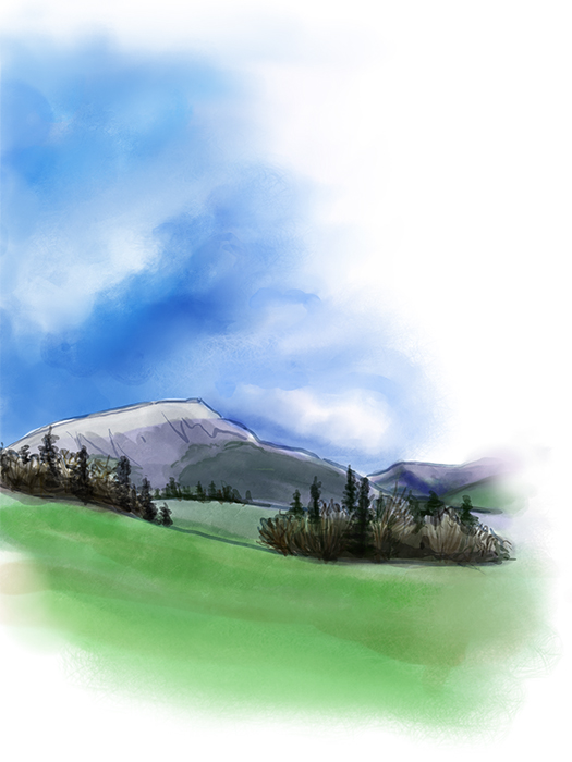 watercolor of grass, trees, and mountain