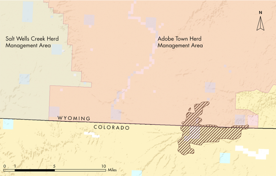 Map showing wild horse area in WY and CO