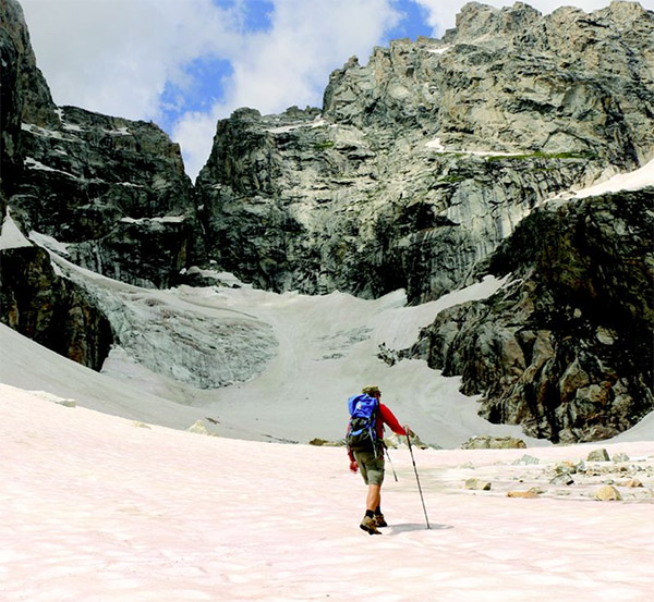 Matt approaches Teton Glacier.
