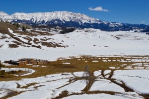 Elk paths melt out of the snow in late March at the Dell Creek feedground in the foothills of the Gros Ventre Mountains. Photo by Emilene Ostlind.
