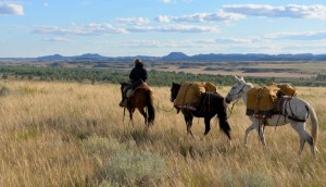 For their Rediscover the Prairie project, Robin Walter and Sebastian Tsocanos traveled 600 miles across Montana and Wyoming with four horses and a mule. Photo from RediscoverthePrairie.org.