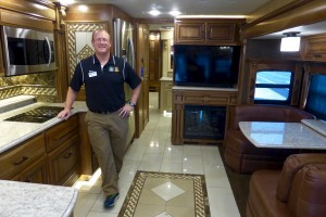 Carey Gabrielle, Sales Manager at Camping World of Longmont, gives a tour of the luxurious Entegra Cornerstone motorhome.