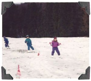 The author (in purple) practicing for her rst ski race.
