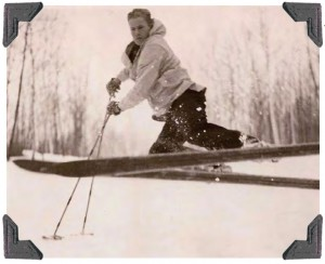 The author's grandpa, Buck Anderson, enjoying Bridger Bowl's deep snow. One of the ski area's runs is named for him.