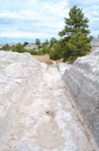 Wheels om pioneers' wagons gouged ruts into the rock at what is today Guernsey State Park in Wyoming.