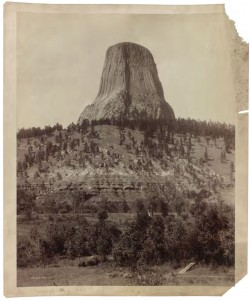 Photo of Devil's Tower National Monument in Wyoming, taken by William Henry Jackson on commission to promote the railroads in 1892.