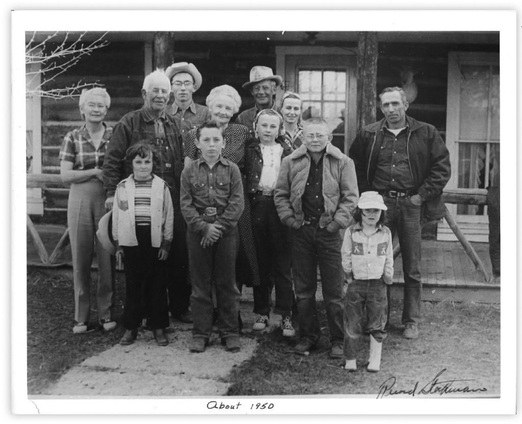 The Budd family in Wyoming, circa 1950, including Mary (front left in stripes), Betty (center with headscarf), and Nancy (front right in cap). Courtesy the Budd sisters