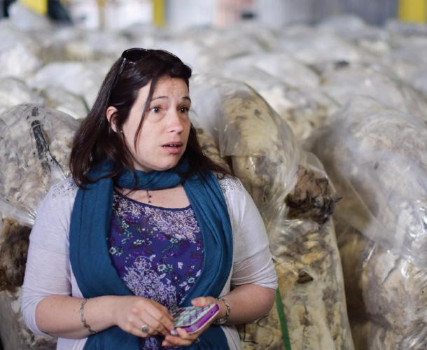 Cecilia Cavada at a wool warehouse in the Magallanes region of Chile. Ammon Medina.