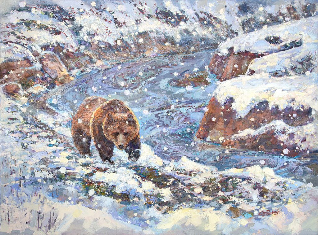 Painting of grizzly bear in spring snowstorm at Obsidian Creek