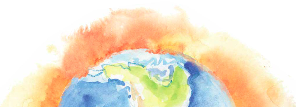 Watercolor illustration of Earth with orange atmosphere