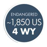 "Dark blue circle reading ""ENDANGERED ~1,850 US, 4 WY"""
