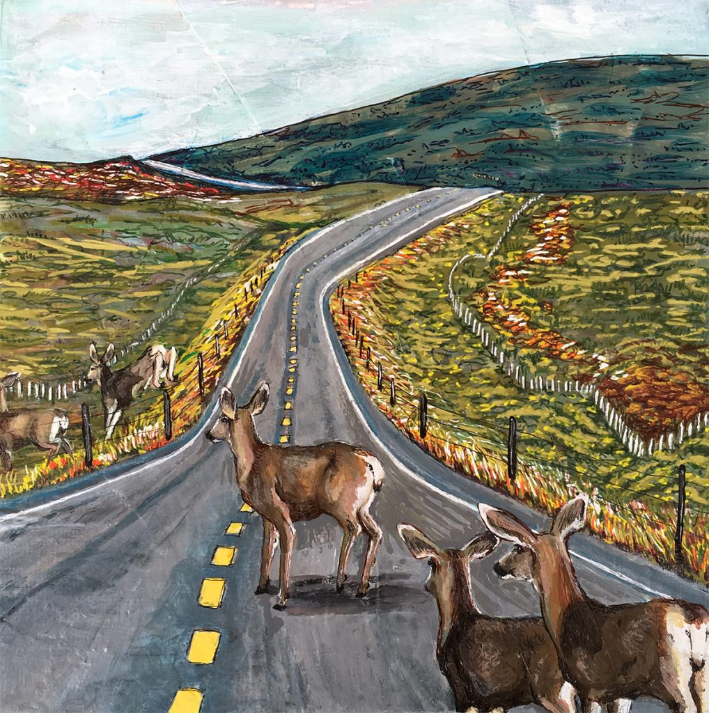 Painting of deer crossing road