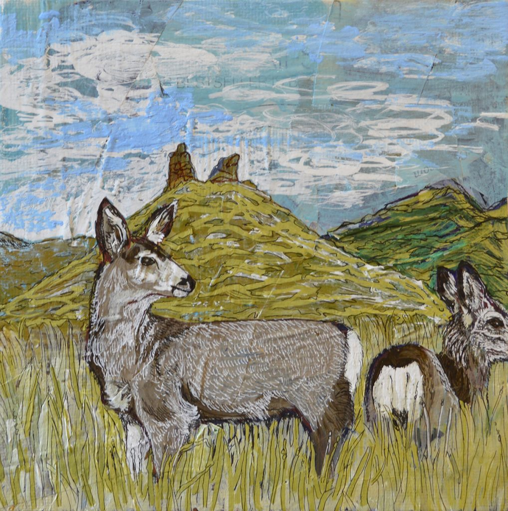 Painting of deer in front of mountains
