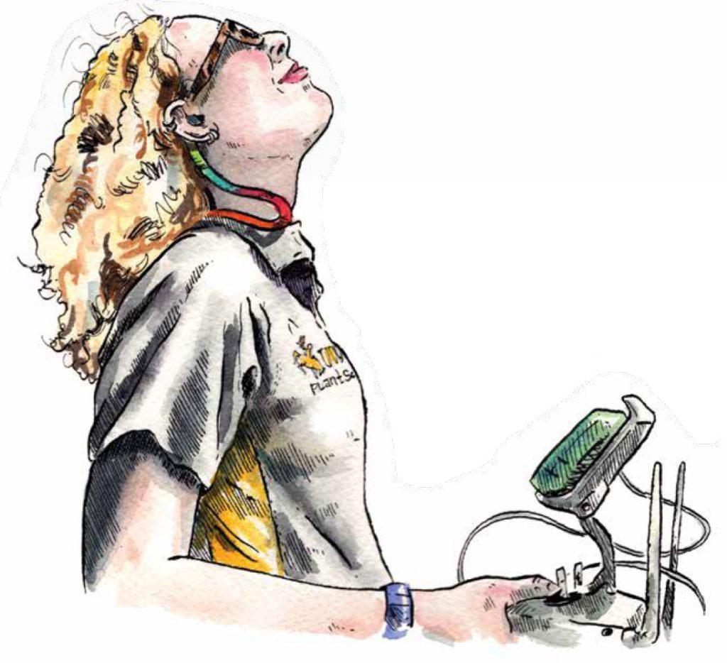 Chloe Mattilio with drone controls