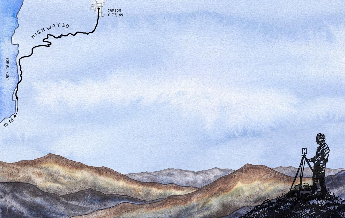 artwork of man taking a photo of mountains