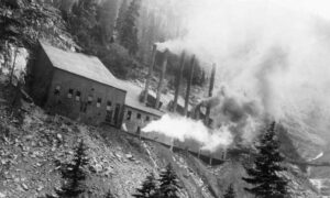 A boiler plant spewed steam in Coal Basin sometime between 1890 and 1910.